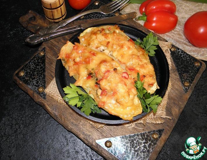 Рецепт: Кабачки, фаршированные курицей и овощами