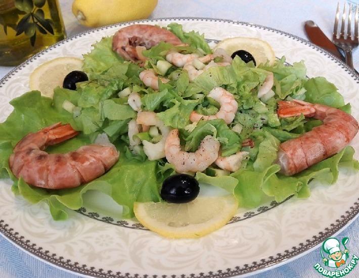 Рецепт: Салат с креветками «Простой»