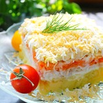 Слоеный салат с кольраби