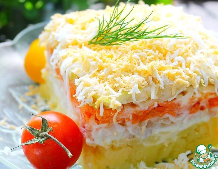 Рецепт: Слоеный салат с кольраби