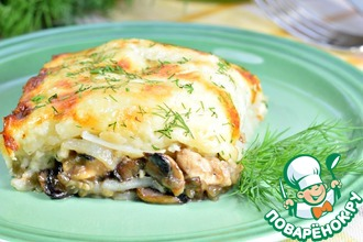 Рецепт: Запеканка картофельная с курицей и грибами