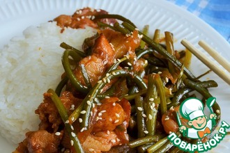 Рецепт: Свинина с чесночными стрелками