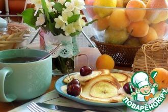 Рецепт: Оладьи с целыми дольками яблок