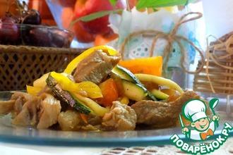 Рецепт: Острый салат со свининой и цуккини