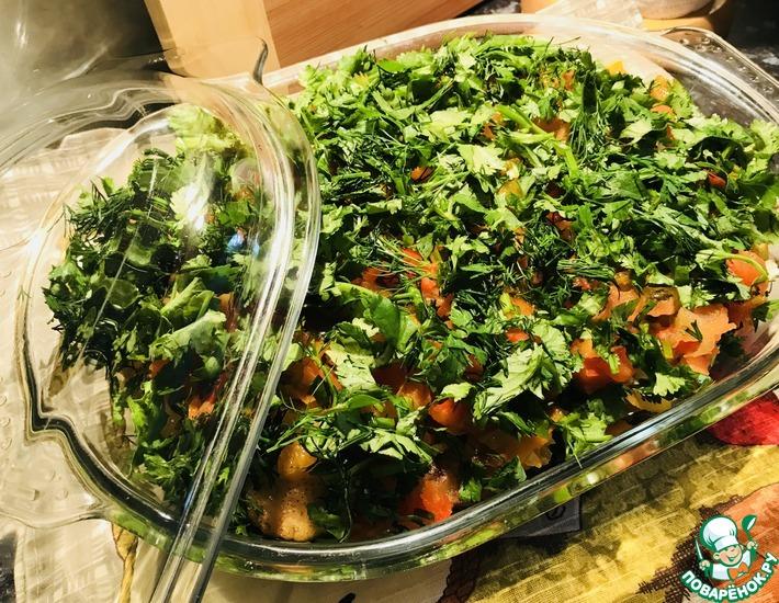 Рецепт: Жареные баклажаны с овощами
