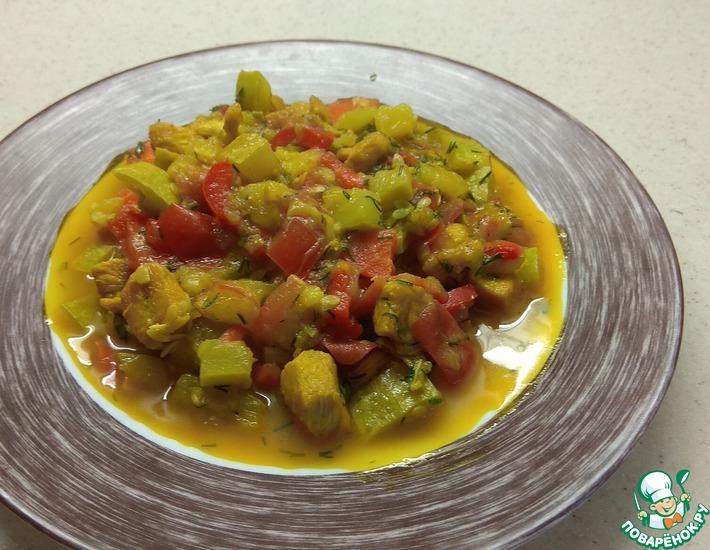 Рецепт: Куриное филе, тушенное с овощами