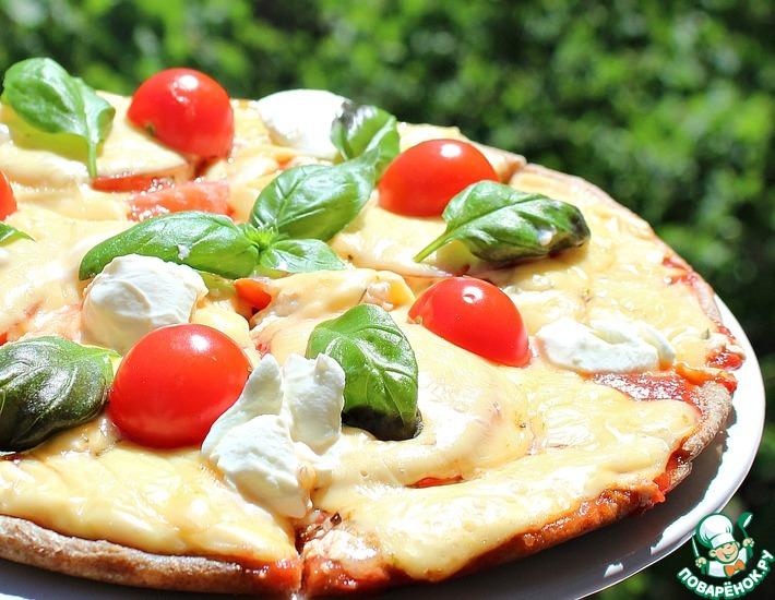 Рецепт: Пицца на сковороде 4 сыра