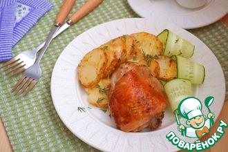 Рецепт: Куриные бедра с чесноком и пряностями