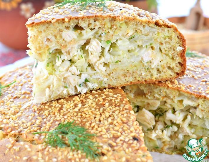 Рецепт: Пирог капустный с курицей