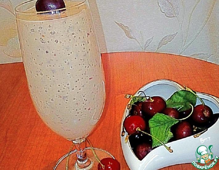 Рецепт: Кефирный коктейль Черешенка