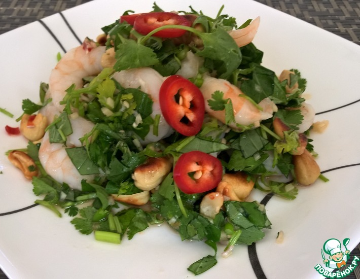 Рецепт: Тайский креветочный салат с базиликом