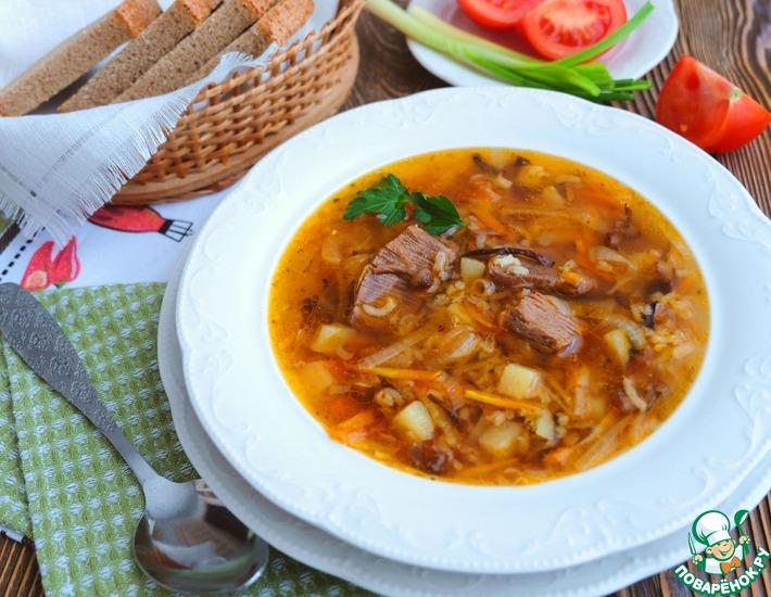 Рецепт: Суп рисовый с говядиной и опятами