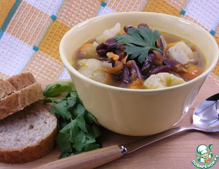 Рецепт: Фасолевый суп с овощами