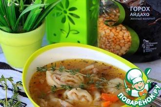 Рецепт: Гороховый суп с чесночно-беконовыми рулетами