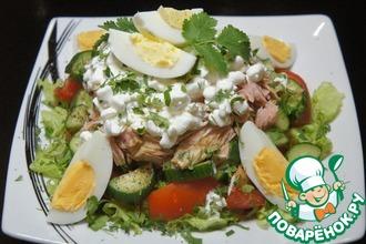 Рецепт: Салат из тунца с зерненым творогом