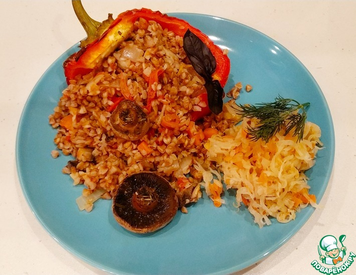 Рецепт: Гречка с печеными овощами и шампиньонами