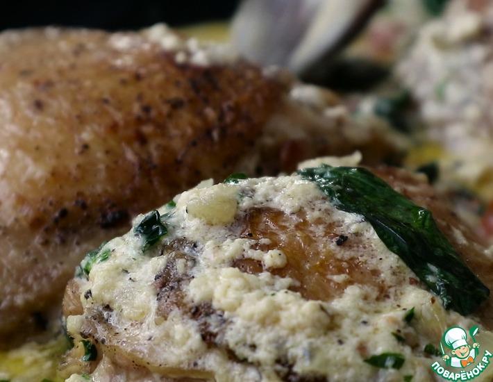 Рецепт: Курица в сливочно-чесночном соусе