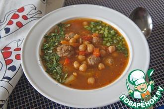 Рецепт: Томатный суп с фрикадельками и нутом