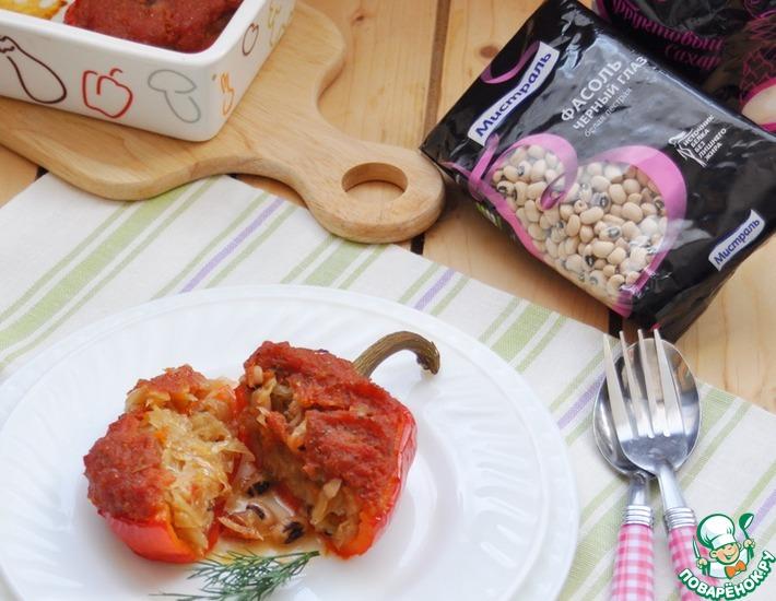 Рецепт: Перец, фаршированный квашеной капустой и фасолью