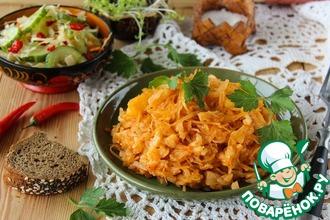Рецепт: Тушеный капустняк с рисом