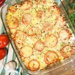 Картофель, запеченный с фаршем и грибами