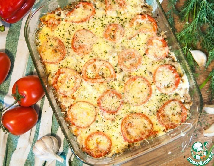 Рецепт: Картофель, запеченный с фаршем и грибами