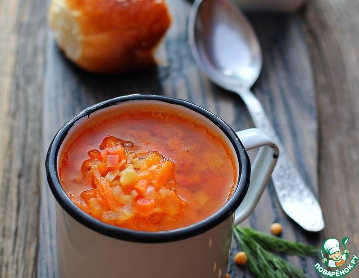 Рецепт: Гороховый суп с запечёнными овощами