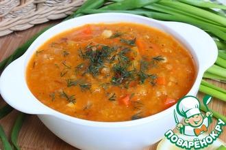 Рецепт: Постный суп из чечевицы с тыквой