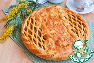 Рецепт: Пирог с мясным фаршем и опятами