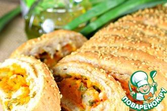 Рецепт: Пирог с тыквой и зеленым луком