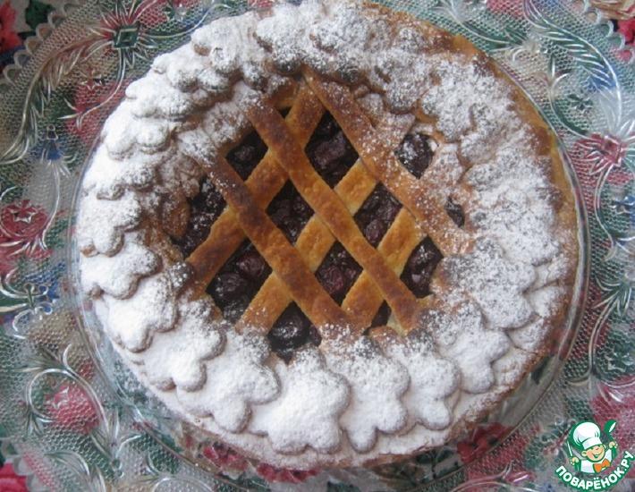 Рецепт: Вишнёвый пирог из слоёно-дрожжевого теста