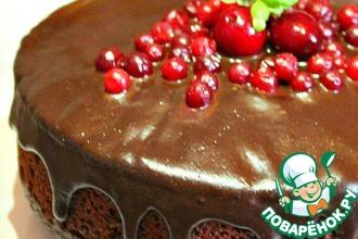 Рецепт: Постный шоколадно-кокосовый торт с орехами