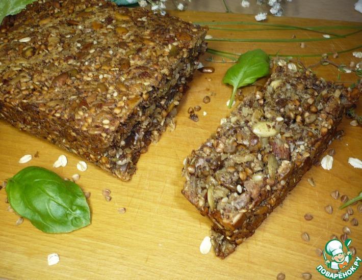 Рецепт: Хлеб из семян, гречки и геркулеса