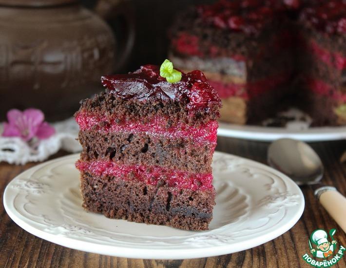 Рецепт: Постный шоколадно-вишневый торт