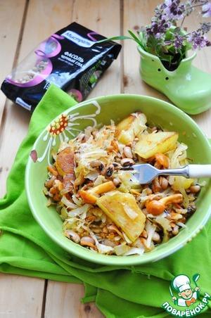 Рецепт: Постный бигос с фасолью и грибами
