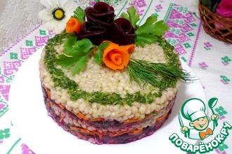 Рецепт: Свекольный салат с перловой крупой