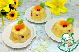 Рецепт: Манный пудинг с мандаринами и брусникой