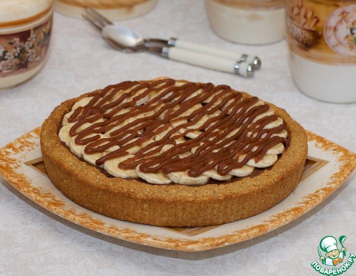 Рецепт: Овсяной пирог с шоколадно-финиковым кремом