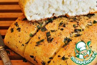 Рецепт: Постный чесночный хлеб на манке Наслаждение