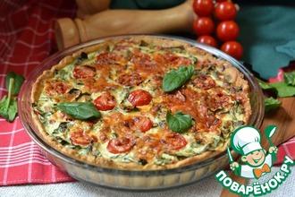Рецепт: Киш со шпинатом, рикоттой и помидорами