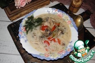 Рецепт: Куриный суп с яблоками и грибами
