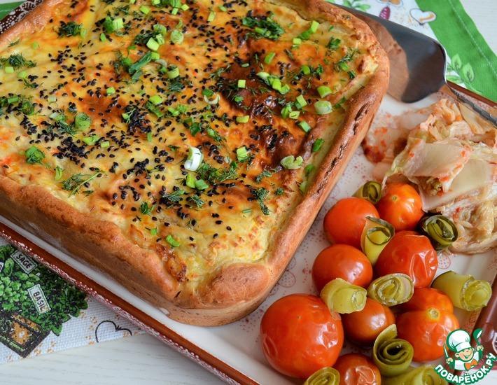 Рецепт: Пирог с форелью и картофельным пюре