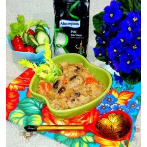 Тушёная капуста с шампиньонами и рисом