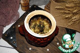 Рецепт: Печень с гречкой Волшебный горшочек