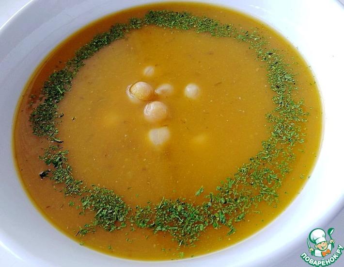 Рецепт: Тыквенный суп с нутом и чечевицей