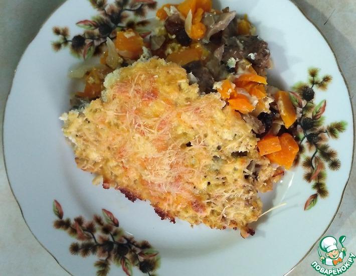 Рецепт: Тыква, запечёная с творогом и грибами