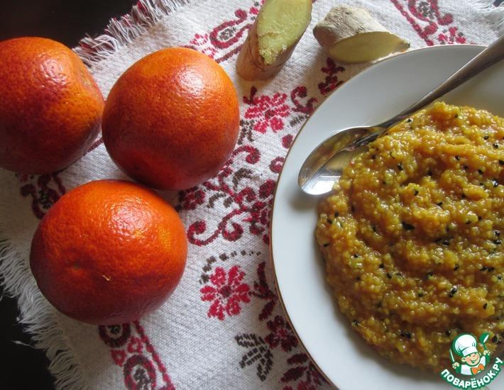 Рецепт: Кукурузная каша с апельсином и имбирем