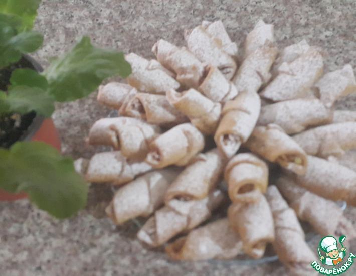 Рецепт: Песочные рогалики с яблочной начинкой