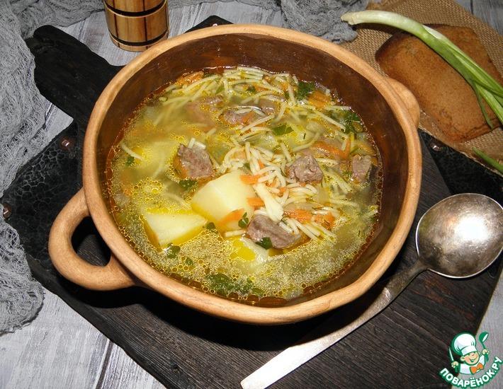 Рецепт: Суп с печенью По-деревенски