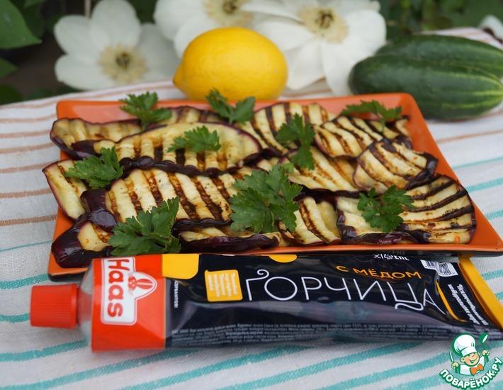 Рецепт: Баклажаны-гриль в горчично-лимонном маринаде